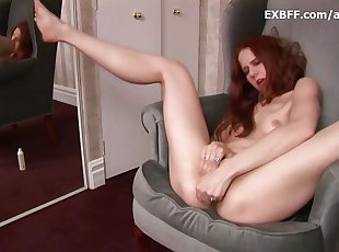 Hairy redhead squirts after intense self fucking scene