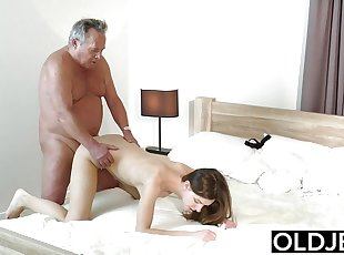 Girl Vs Old Man - Skinny Teen taking big facial
