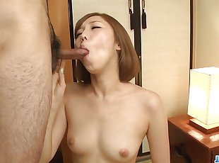 Slim Asian doll, Mei Mizuhara, prepares for a long blow