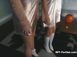 Sorority Halloween foursome blowjob party
