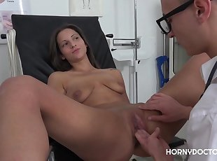 HOT CZECH BRUNETTE NICOLETTE NOIR GETS FINGERED BY DOCTOR