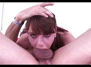 Petite Brunette AH Sloppy Deepthroat Blowjob and Swallow