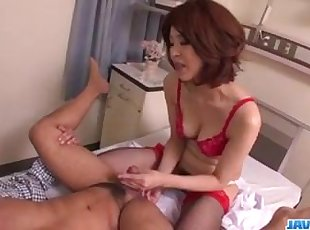 Hardcore sex with milf in red lingerie, Erika Nishino