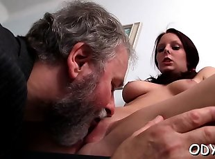 Slender dilettante slut gets licked and rides an old penis
