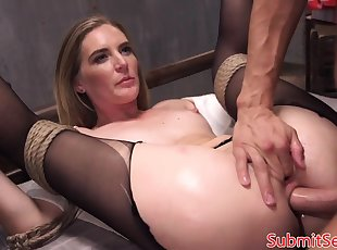 Submissive slut DP fucked roughly in BDSM