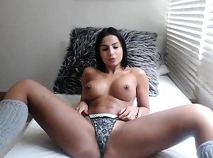 Brunette slut with perfect big boobs is alone