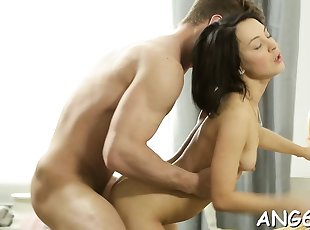 Alluring darling receives deep hammering after blow job