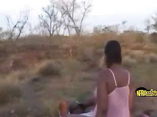 Black chicks riding fat dick outdoors