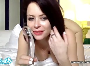 Emily Addison redhead with huge tits doing hard masturbation.