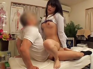 Skillful doctor massages a cool girl on a spy camera