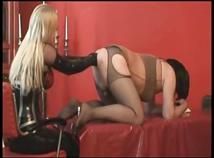 BDSM deep fisting session by a hot blonde mistress