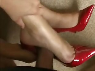 amazing red heel shoejob