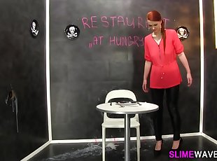 Glam babe gets slimed