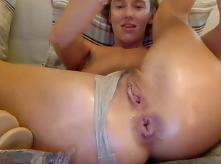 Ass and pussy pantie stuffing
