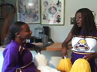 Two Young Black Cheerleaders Suck And Fuck Older Men